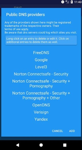 Select OpenDNS from the list
