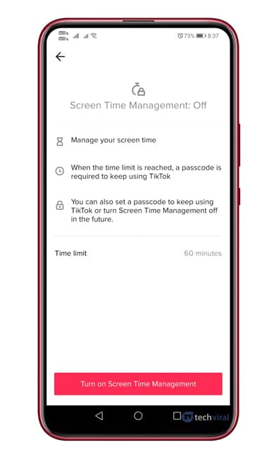 Set up the screen time limit