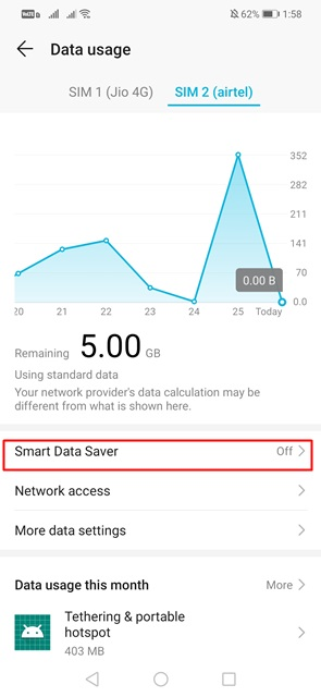 Disable the 'Data Saver' mode