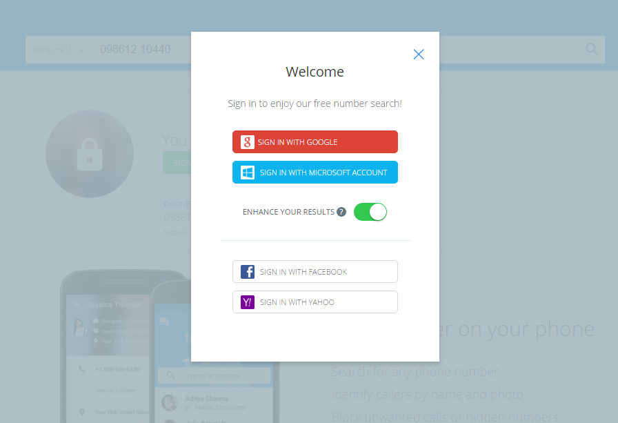 Create or login with an account
