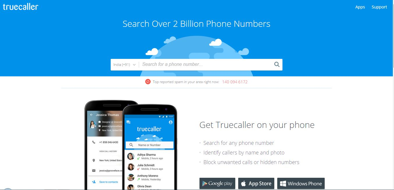 Visit Truecaller website