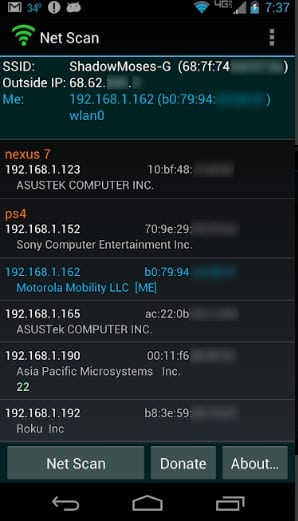 List of devices