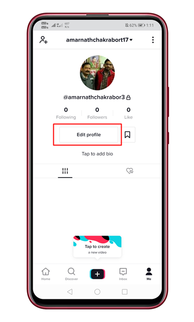Tap on the 'Edit Profile'