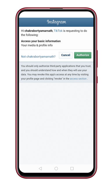 Authorize the account access