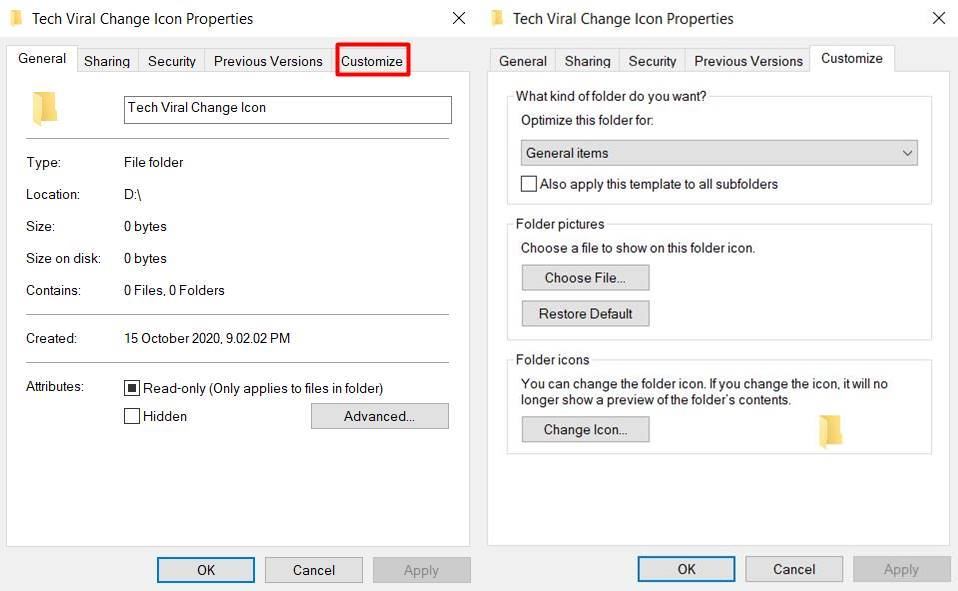 Change Icons in Windows 10