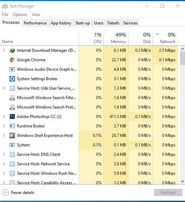 Open the Task Manager