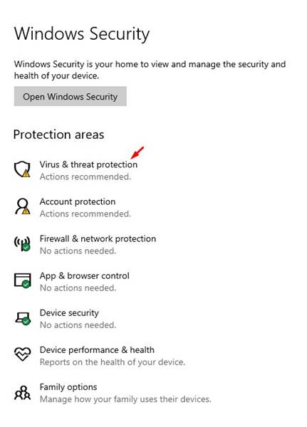 click on the 'Virus & Threat Protection'