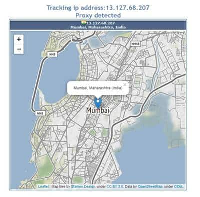 Use any online IP checkerto find the geographical details