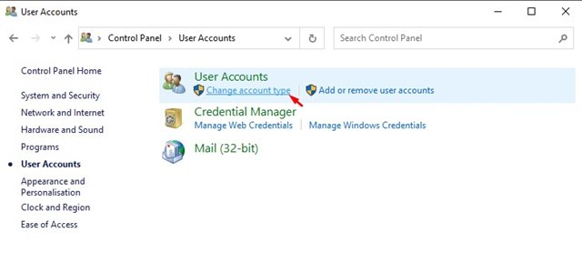 click on the 'Change account type' option