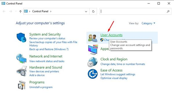 click on the 'User Accounts' option