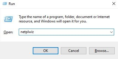 type in 'netplwiz' and click on the 'Ok'