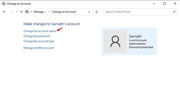 click on the 'Change the account name' option
