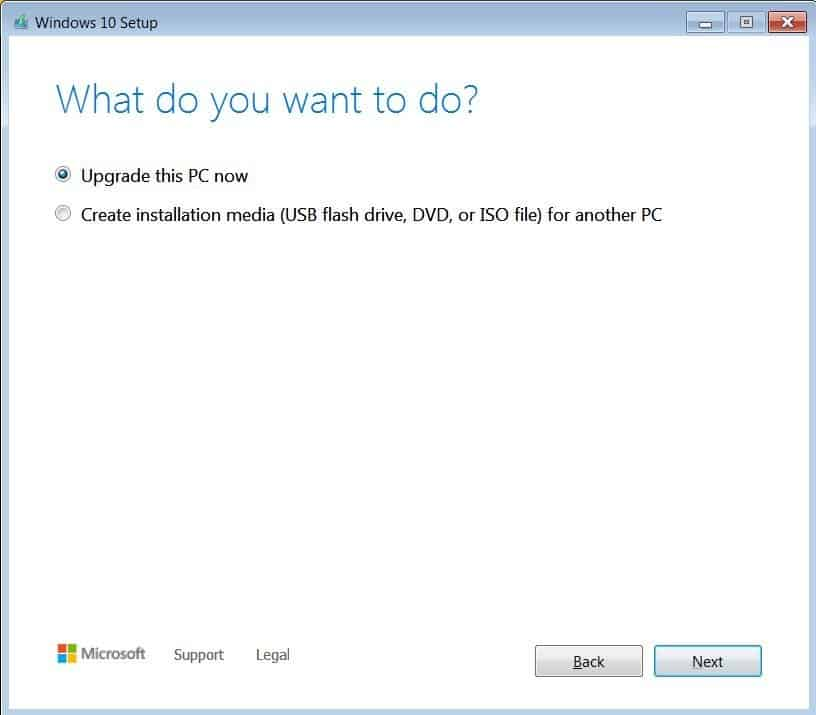 Upgrade this PC now & Create installation media