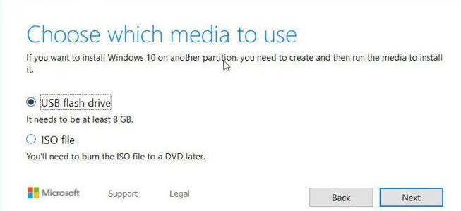 Select USB and click on 'Next'