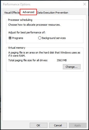 On the new Windows, click on 'Advanced'