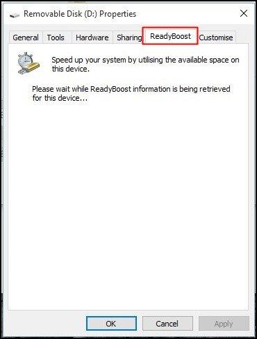 Select the 'ReadyBoost' tab