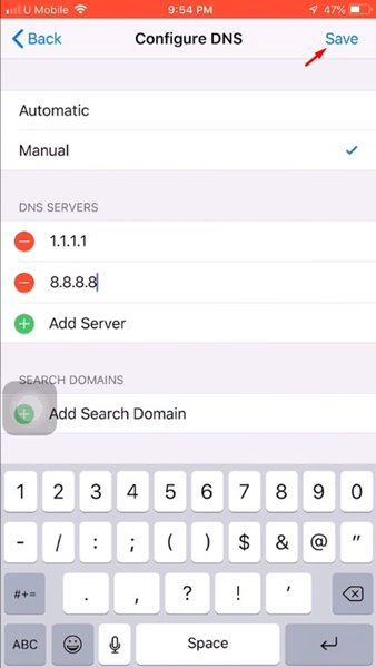 Add the DNS servers and save the settings