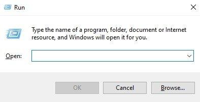 open the Run Dialog box