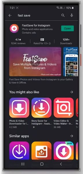 download & install the FastSave app
