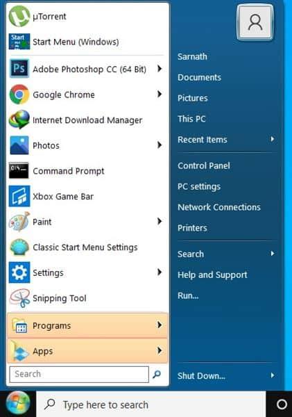 Windows 7 type start menu