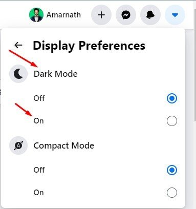 select the 'On' to enable the dark mode