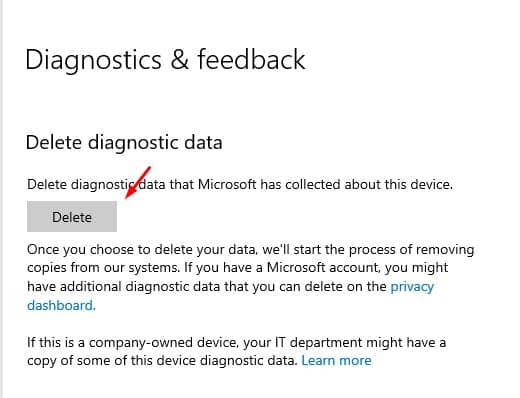 Delete PC's Diagnostic Data from Microsoft's Server