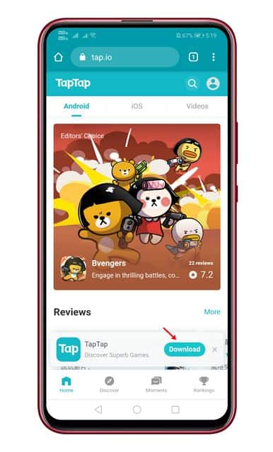 download the TapTap apk file
