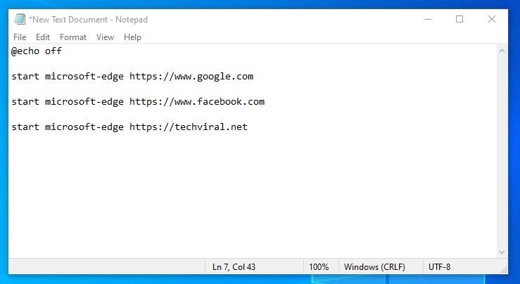 Code to open websites in the Edge browser
