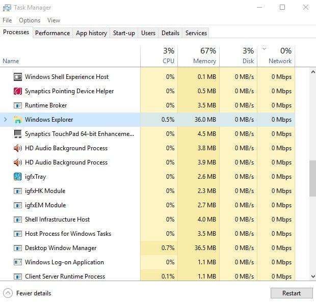 Restart The Windows Explorer