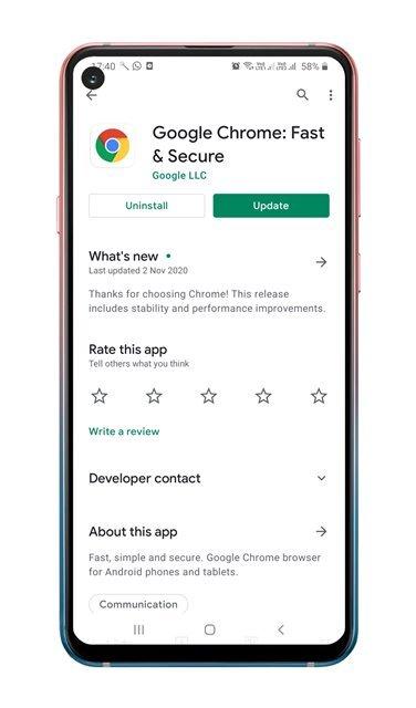 update the Google Chrome app
