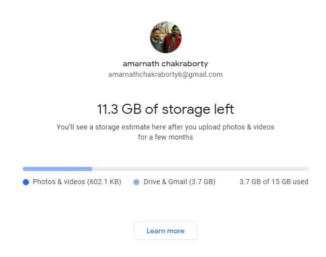 Storage left on Google Photos