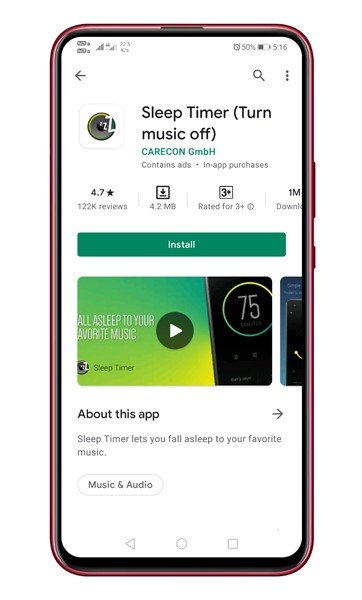 , download and install the app Sleep Timer (Turn music off)