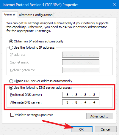 Switch to Google DNS