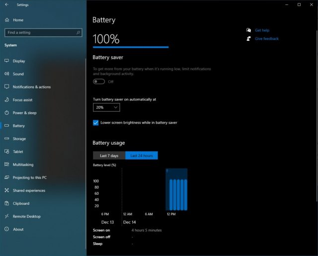 Battery usage graphics