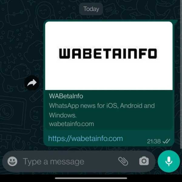 Whatsapp working on Large link Preview